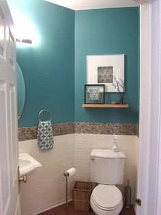 Design: Tropical Coastal design bathroom with bright Turquoise and a Mother of Pearl border. Hand Towel- maybe not so teal but I like the idea