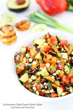 Southwestern Grilled Sweet Potato Salad on twopeasandtheirpod.com #summer #salad