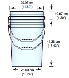 Dimensions of a 5 gallon bucket. All bucket models vary slightly, of course.