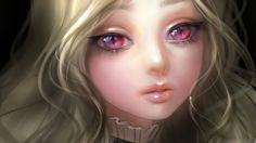 Just turn those eyes blue, and you have Eiryanah with her dragon eyes. :)    kitty eyes-girl pink blonde painting art