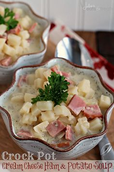 Cream Cheese Ham & Potato Soup ~ Easy Crock Pot Soup loaded with ham and potatoes!