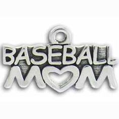 Pewter Baseball Mom Charm