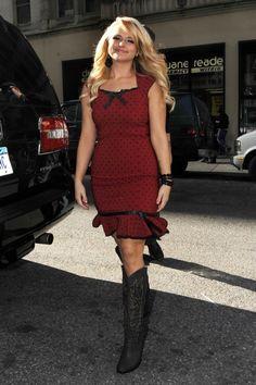 cowboy boots, red dress