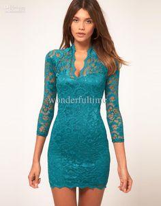 -new-women-lace-mini-dress-scalloped-v-neck.jpg (870×1110)