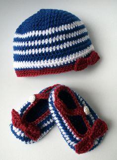Crochet Patterns nautical beanie and booties set #babycrochet #babypatterns