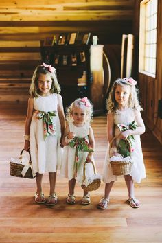 trio of flower girls, photo by Brett & Jessica http://ruffledblog.com/lady-luck-farms-asheville-wedding #flowergirls #wedding #kids