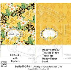 "Daffodil Theme - Tall Sacks with matching toppers. Bags are 5"" wide x 7"" tall...  DAISIE COMPANY: Printable Digital Paper Crafts, Clipart, Scrapbooking, Stamp, Party - DaisieCompany.com"