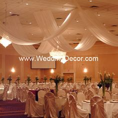 Almost really cool...I think the ceiling is what's bothering me! drapes reception decorations, idea, futur, dream, ceiling decor, ceilings, ceil decor, ceil drape, ceil canopi