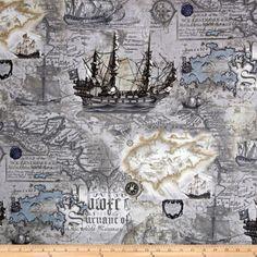 Kanvas Buried Treasure Nautical Map Storm Grey