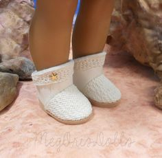 American Girl Doll Boots 18 Doll Boots Off White by MegOrisDolls
