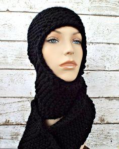 Ear Flap Hat Garter Nomad Scarf Hat in Black