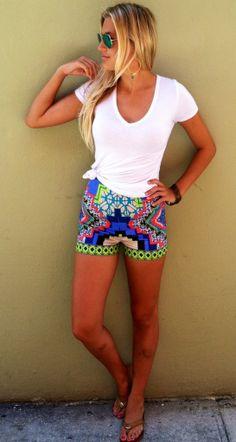Neon Aztec Print Shorts