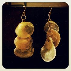 Seashell earrings made at home!  inspired by pinterest!