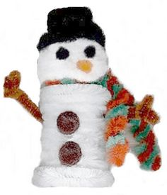 small bottle snowman craft using white chenille stems