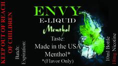 Envy Premium E liquid Collection Menthol Sale! $4.95