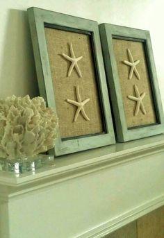 Coastal Chic wall decor, burlap + starfish via Charmingly Shabby Designs