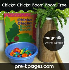 Magnetic Chicka Boom Boom Tree (This one- Tape 2 coffee cans together on top of each other. Wrap with wood grain contact paper. Push fake ferns into slits cut into lid.)   Instead, would a piece of painted galvanized duct work for the tree trunk?