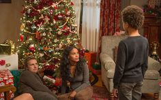 Crosby, Jasmine and Jabbar around the Christmas tree #Parenthood