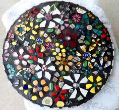 "18"" ""Wildflowers"" mosaic table top"