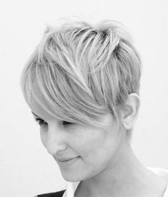 Long bangs, short sides - pixie. Love it!!