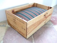 Wine crate dog bed!