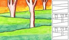 Simple Landscape. space. depth. overlapping. size. placement. seasons. 2nd. 3rd. paper. pen. sharpie. watercolors