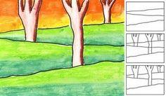 layer landscap, art lessons, tree, backgrounds, perspective, oil pastels, kids, landscape art, art projects