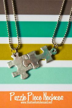 Puzzle Piece Necklace from thatswhatchesaid.net Great for end of the year gifts for friends or to make at summer camps! #necklaces #crafting
