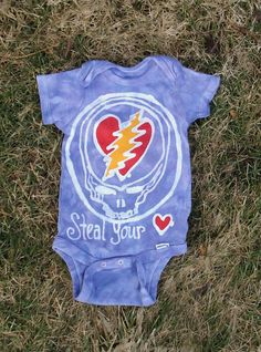 Custom Baby Batik Grateful Dead Onesie Steal Your Heart 13 point bolt. $20,00, via Etsy.