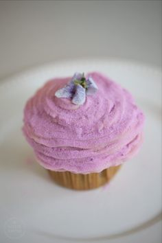 Violet Tea Cupcakes with Cream Cheese Frosting & Candied Wild Violets