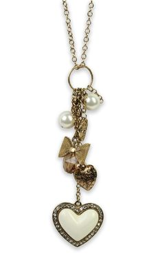 gold #necklace with #heart and bow charms  $9.37