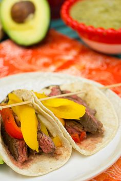 Skirt Steak Tacos with Roasted Peppers   Quick cooking, flavorful tacos great for a #WeekdaySupper Taco Tuesday.