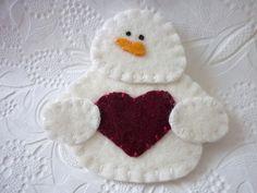 Felt Snowman Ornament  Felted Wool Felt by pennysbykristie on Etsy,