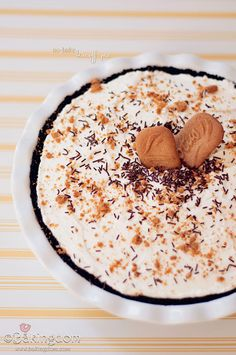 No-bake Biscoff Pie, sweet and easy Biscoff filling in a chocolate crust, topped with homemade whipped cream