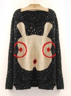 Cartoon Glasses Rabbit Sweaters Black$50.00