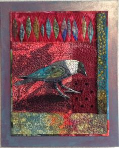 "Small quilted piece. ""Jackdaw"" by Linda Kemshall."