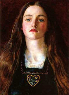 """John Everett Millais, """"Sophy Gray,"""" 1857  Sophia (Sophy) Margaret Gray (October 1843-15 March 1882), later Sophy Caird, was a Scottish-born model for her brother-in-law, the pre-Raphaelite painter, John Everett Millais. She was the younger sister of Euphemia (Effie) Gray, who married Millais in 1855 after the annulment of her marriage to John Ruskin."""