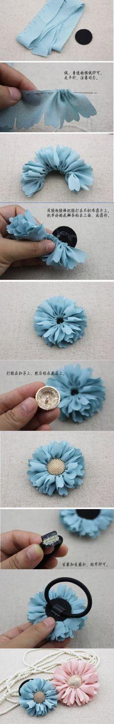 Fab flower in ribbon or fabric. I feel a must do coming on. craft, fabric flowers, ribbon, diy 随便, fab flower, diy flower