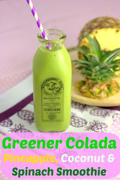 Greener colada – pineapple, coconut & spinach smoothie