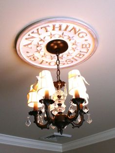 'Anything Is Possible' Check out the inspiring story behind this ceiling medallion --> http://www.hgtv.com/designers-portfolio/room/contemporary/kids-rooms/7509/index.html#/id-7176/room-kids-rooms/color-neutral?soc=pinterest