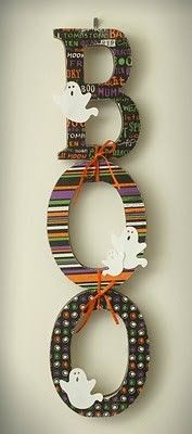 holiday, halloween decorations, wood letters, halloween crafts, door, scrapbook paper, papers, boo sign, wooden letters