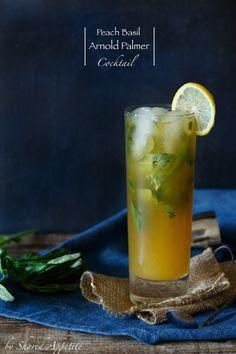 Peach Basil Arnold Palmer Cocktail by @sharedappetite