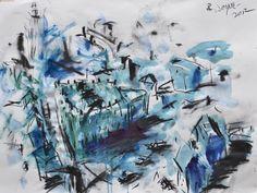 "'Downtown' by Robert Joyner | $250 | 24""w x 18""h | Original Art | https://www.arttwo50.com/buy/art/downtown--2"