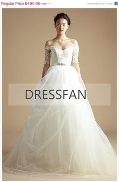 ON SALE 2013 new/flat shoulder/1/2 sleeves/wedding dress/long tail