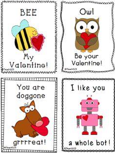 Valentine's Day FREEBIE cards by Teach123! ~Pinned by www.FernSmithsClassroomIdeas.com $0