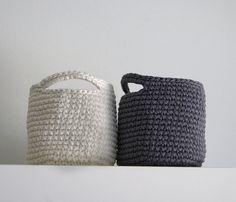 Set of  2 Storage Basket in Dark gray and Beige