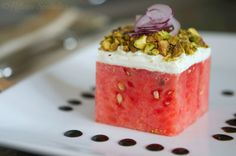 stacked watermelon salad with goat cheese, pistachios, red onion, balsamic goats, watermelon salad, stack watermelon, food, pistachio, salads, watermelons, onion, goat cheese