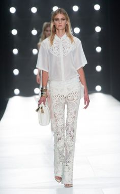 Roberto Cavalli Spring 2013. Loving the white, the sheer, and the lace trend. Elie Saab too.