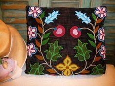 Antique Victorian Hand-Beaded Velvet Pillow