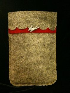 Grey and red felt iPhone case with kitten charm